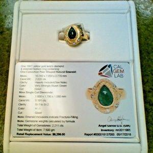 18K Lady's Diamond Emerald 2.020CT Fashion Ring